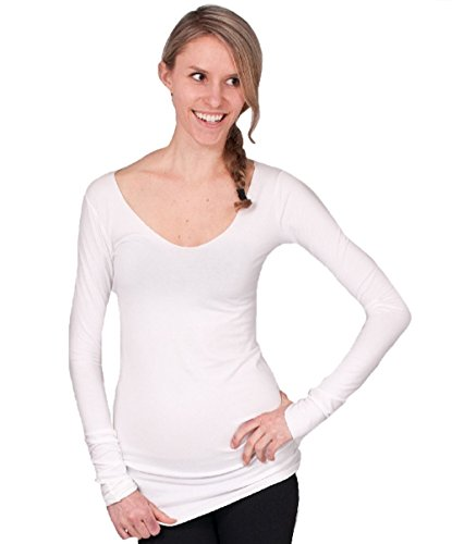 Hard Tail Long Skinny Sexy V-neck Tee (S, White)