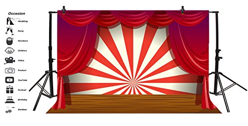 LFEEY 7x5ft Red Curtain Stage Backdrop Photo Booth Props Cartoon Wood Floor White and Red Stripes Photo Background for Birthday, Party, Events Decorations by LFEEY (Image #2)