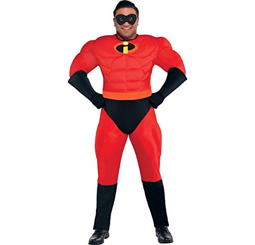 The Incredibles Mr. Incredible Muscle Halloween Costume for Men, Plus Size, with Included Accessories, by Party -