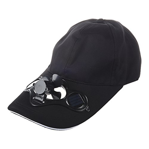 SODIAL(R)Summer Outdoor Solar Sun Power Hat Cap Cooling Cool Fan for Golf Baseball Sport - Black (Fan Cooling Cap Solar)
