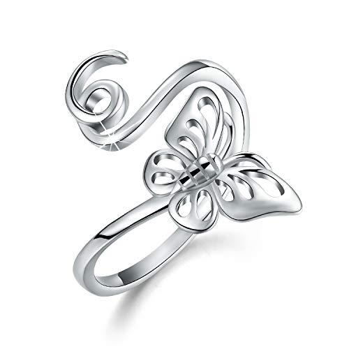 Esberry 18K Gold Plating 925 Sterling Silver Cute Insect Shape Open Ring Hollow Carving Dragonfly Butterfly Bee Adjustable Rings for Girls and Women (Butterfly)