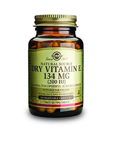 Solgar Dry Vitamin E 200 IU D-Alpha Tocopheryl Succinate Vegetable Capsules, 50 Count