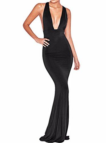 BEAGIMEG Womens Sexy Deep V Neck Bandage Backless Party Evening Dress, Black, Medium, Black, Medium (Evening Back Gown)