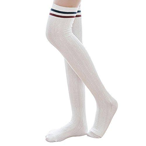 Ordenado Womens Spring Sexy Over Knee Leg Warmer Crochet Thigh High Boot Socks Girls Leggings (White A)