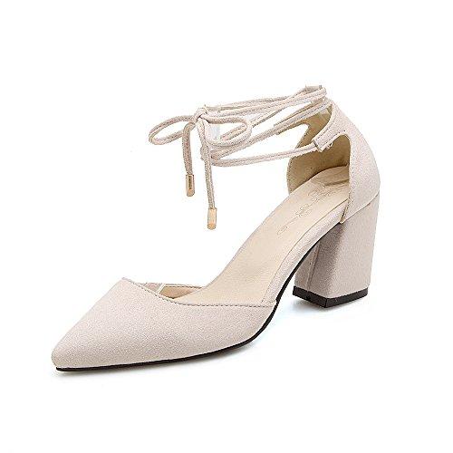 Chaussures Grande de Sangles de Sandales Profonde Beige Peu Taille Romain avec Talons Hauts Cheville Femmes Fait des Bouche épais 8En8wrq6