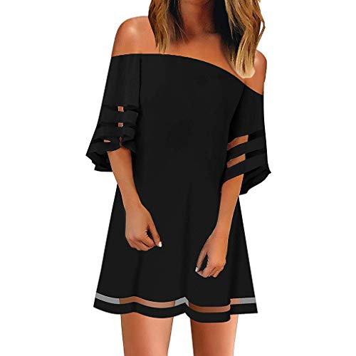 TUSANG Women Skirts Off Shoulder Mesh Panel Blouse 3/4 Bell Sleeve Loose Top Shirt Dress Slim Fit Comfy Dress(D-Black,US-6/CN-M)