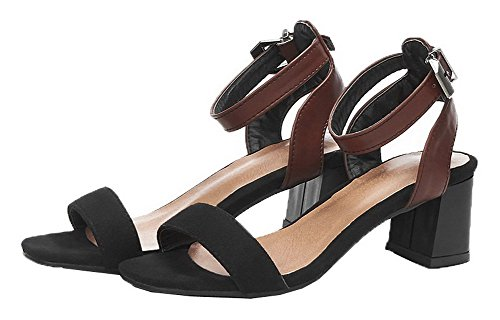 Blend Open Color Women's Toe Sandals Materials Assorted WeiPoot Black EGHLH005571 tAa5qwx