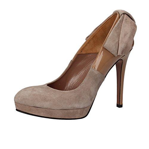 GIANNI MARRA Zapatos de Salón Mujer Gamuza Charol (37 EU, Beige/Marrón)