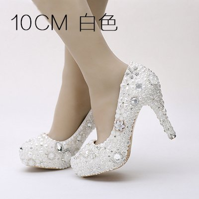 6 Flower Heel Wedding Heel Female Waterproof VIVIOO Pearl Water Drill Platform Shoes Wedding Dress White Shoe Adult Single 10Cm Super Prom Sandals Shoes Bride SgwYPq