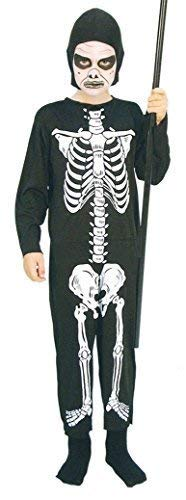 Boys Evil Skeleton Skull Death Grim Reaper Halloween Fancy Dress Costume Outfit (7-9 years) -