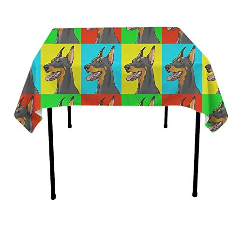 Doberman Pinscher Tapestry - JACINTAN Square Tablecloth - 36 x 36 Inch - Doberman Pinscher Dogs Square Table Cloth for Tables in Washable Polyester - Great for Buffet Table, Parties, Holiday Dinner, Wedding & More