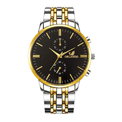 - Men Watches,Fxbar Luxury Quartz Sport Military Stainless Steel Dial Leather Band Wrist Watch Business Automatic Watch (A)