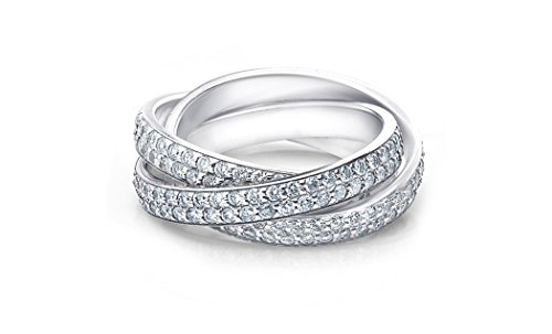 Eternity Rolling Ring (NYC Sterling Women Cubic Zirconia Triple Rolling Eternity Band (5))