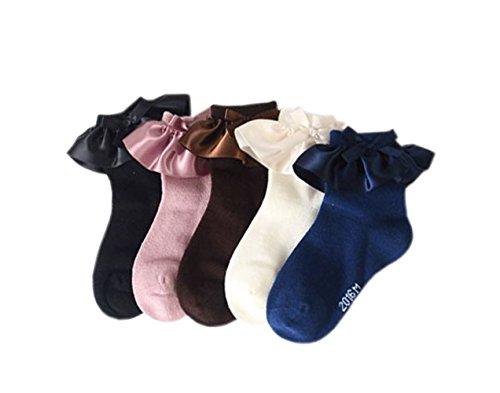 Honanda Girl's Cute Lace Ruffle Frilly Princess Style Cotton Socks (Girls Dress Socks)