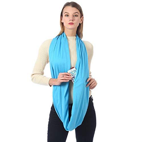 (Infinity Pocket Scarf Fashion Pattern Wrap-Womens With Zipper Infinity Scarves, Travel Scarf (Sky Blue))