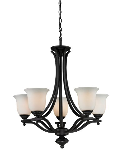 Z-Lite 703-5-MB Lagoon Five Light Chandelier, Steel Frame, Matte Black Finish and Matte Opal Shade of Glass Material (Chandelier Light Matte Five)