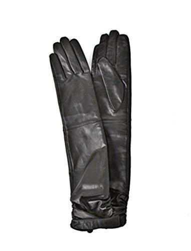 のホスト使い込む育成Boca Raton レディスレザー 本革手袋  ロンググローブ 40cm  ブラック