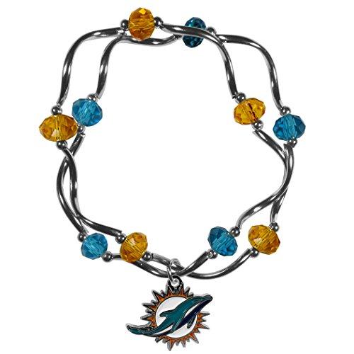 Siskiyou NFL Miami Dolphins Women's Crystal Bead Bracelet, Stretch
