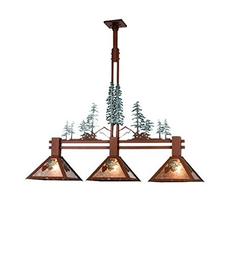 Meyda Tiffany 29365 Winter Pine Tall Pines Collection 3-Light Island Pendant, Two Toned Rust and Green Accents with Silver Mica Shades