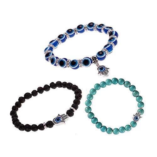 YOUYUZU Turkish Evil Eye Good Luck Bracelet Murano Glass Bead Stretch Kabbalah Jewelry for Protection ()