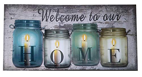 Oak Street Lighted Tabletop Canvas with Timer Welcome to Our Home Flickering Candles in Jars 23.5 x 12 Art Print (Home Art Wall Lighted)