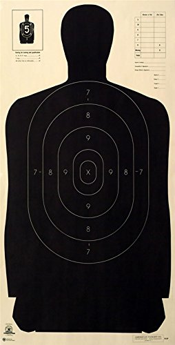 ((25) Police Standard Silhouette Target - Black Rendition - Official NRA Target B-27 23