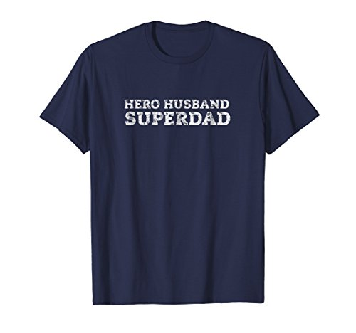 Mens Simple Super Hero Dad Husband T Shirt Fathers Day Gift XL (Navy Blue Super Dad T-shirt)
