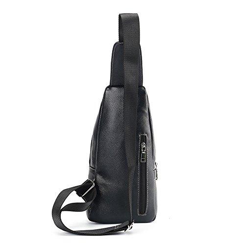 Top Daypacks Traveling Bag Genuine Gym Camping Cycling Jxth Men Waterproof Sling Backpack Chest Leather Black Hiking wRYUa