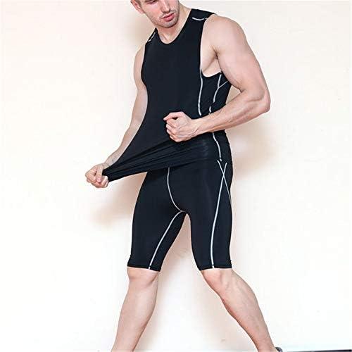 短いフィットネス 弾性圧縮速乾性サイクリングパンツフィットネストレーニングパンツタイトなスポーツショーツ スポーツショーツ (色 : Black, Size : L)
