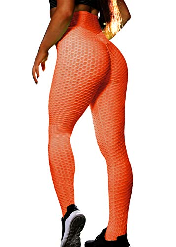(CPHMP Women's High Waist Ruched Butt Lifting Slimming Leggings Textured Stretchy Skinny Yoga Pants Thights (M, Orange))