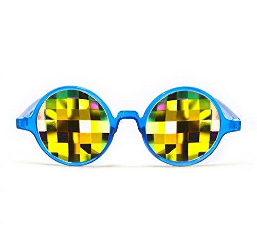 GloFX Transparent Blue Kaleidoscope Glasses - Rainbow Bug Eye - Flat Back by GloFX