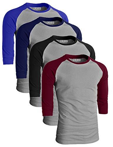 ViiViiKay Men's 4 Pack Comfy Casual Baseball Raglan Cotton 3/4 Sleeve Shirt LTGRBLU_LTGNAV_LTGBLK_LTGBUR_XL