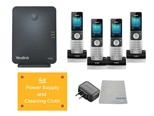 Yealink W60P IP Cordless Phones Office Bundle-DECT W56H Handset and Base Unit, Power Supply and Microfiber Cloth #YEA-W56H-VB4 | Requires VoIP Service (Yealink W60B DECT Base and 4 Handsets)
