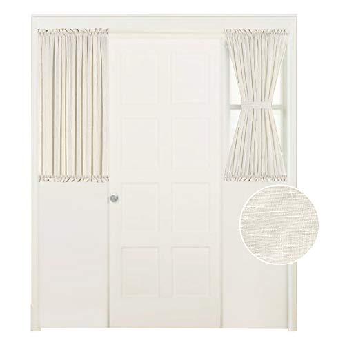 Turquoize Sliding Door Curtain Panels Energy Efficient Functional French Door Panel for Sidelight Window, Bonus Adjust Tie-Back, W25 x L40 - Inch Double Panels - Natural (Back Tie Panel Door)