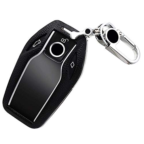 Cover Bmw 7 Series - ontto Car Smart Key Fob Geniune Leather Case Protector Holder Cover for BMW 7 Series (Black)