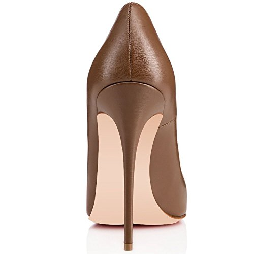 12cm Court Pointed Womens Shoes Brown Smart Ladies Heels Soireelady Toe High wWEqT8dY