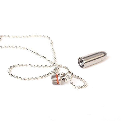 aiber Mini titanio llavero píldora impermeable bala píldora soporte colgante píldora caso con cadena: Amazon.es: Hogar