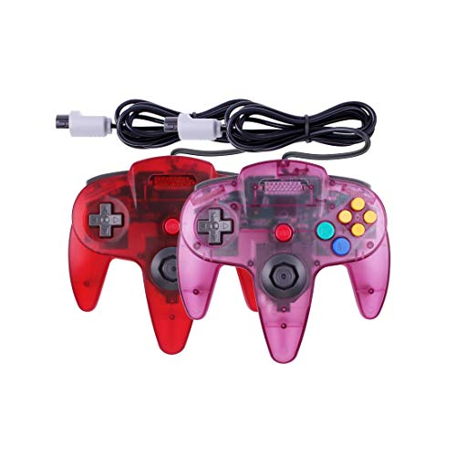 Joxde 1 Pack Upgraded Joystick Classic Wired Controller Compatible N64 Gamepad Console (Clear Red Clear Purple)