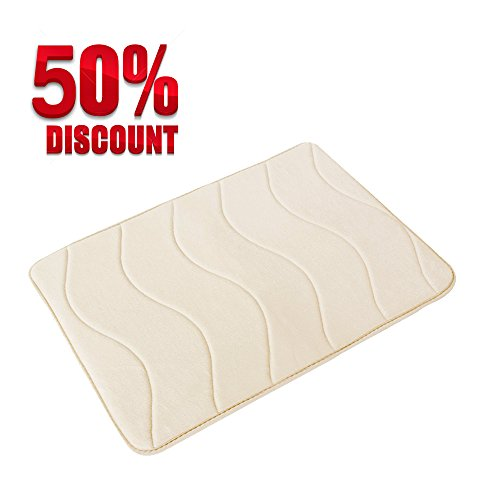 Soft Non Slip Absorbent Bath Rugs, Memory Foam Bath Mats by FlamingoP (Ivory, Waved Pattern, Size:W17