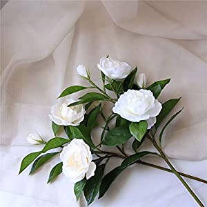 KMCMYBANG Artificial Plant Gardenia Flowers Artificial Silk Bouquets for Office Home Wedding Parties Decor(White,Yellow) Fake Mini Potted Grass (Color : White, Size : One Size) 5