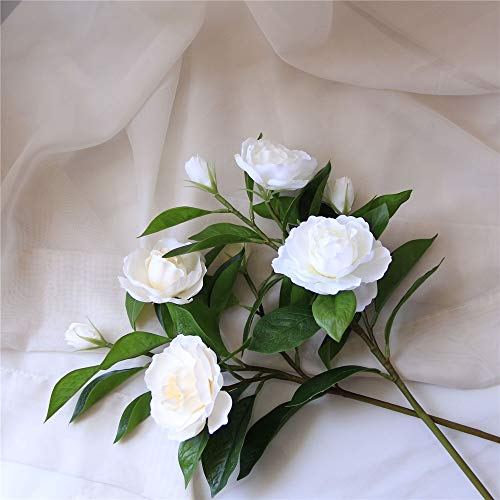 KMCMYBANG Artificial Plant Gardenia Flowers Artificial Silk Bouquets for  Office Home Wedding Parties Decor(White,Yellow) Fake Mini Potted Grass  (Color