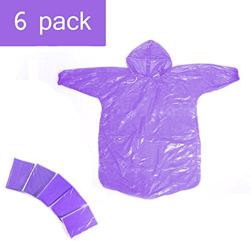 Disposable Rain Ponchos 5 Pack Kids Children Purple Rain Coat with Drawstring Hood & Sleeve