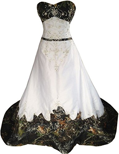 ZVOCY Women\'s Plus Size Camo Wedding Dresses Long Prom Dresses Strapless  Embroidery Camouflage Bridal Gown White 14