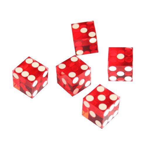 (IDS Set of 5 Red 19mm Precision Casino Dice with Razor Edges)