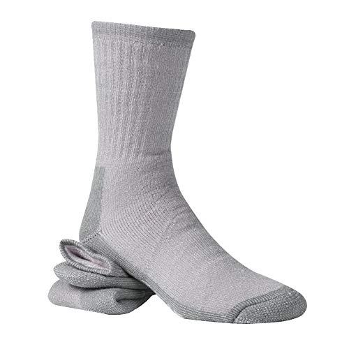 (RTZAT Thermal 65% Merino Wool Mens Hiking Crew Socks Anti-blister Cushioned Wool Blend Socks, X-Large, 1 Pair, Gray)