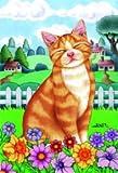 Orange Tabby Cat Tomoyo Pitcher Spring Garden Flag 28″x40″ For Sale
