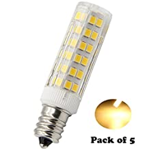 E12 LED Bulbs 5W Replacement halogen 50W Equivalent ,for Candelabra bulb , dimmable Warm light 3000k 110V-120V Ceiling Fan Chandelier, Indoor Decorative Lighting Pack-5 …