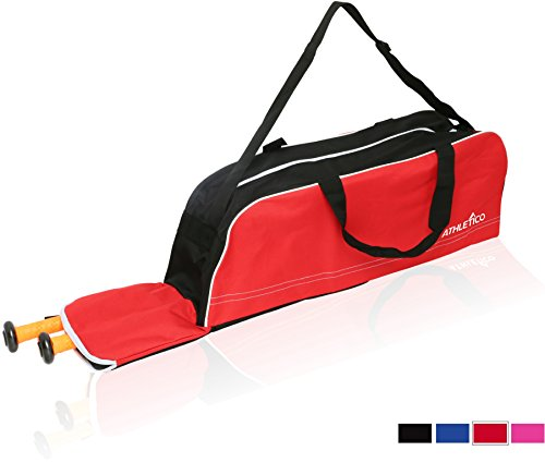 Athletico Baseball Tote Bag - Tote Bag for Baseball, T-Ball & Softball Equipment & Gear for Kids, Youth, and Adults | Holds Bat, Helmet, Glove, & Shoes | Fence Hook (Red)