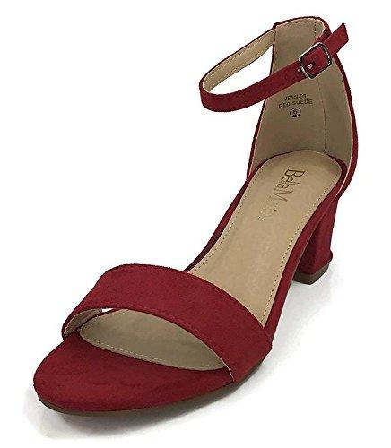 Bella Marie Women's Strappy Open Toe Block Heel Sandal Red 8