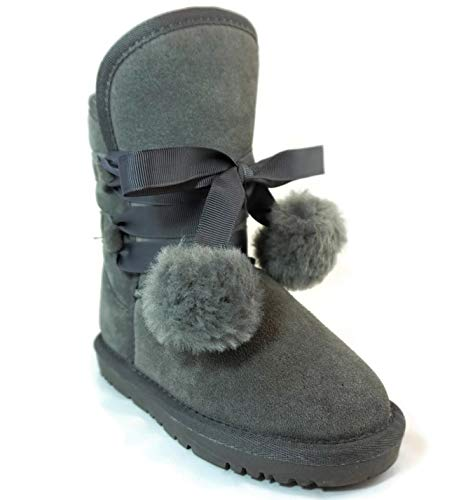 (CooL BeanS Girls Winter Snow Boots Warm Sheep Fur, Genuine Leather (Toddler Size 8) Grey)